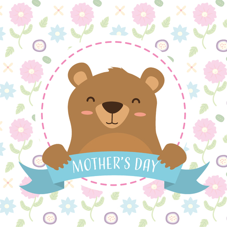 cute bear baby flowers background happy mothers day vector illustration Stock Illustratie
