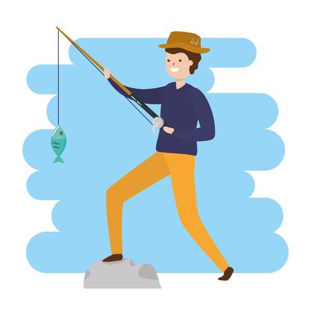 Homme avec canne à pêche poisson - mon hobby vector illustration