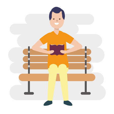 man reading book in the bench - my hobby vector illustration