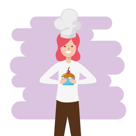 woman cooking a cupcake dessert - my hobby vector illustration Banque d'images - 118548049