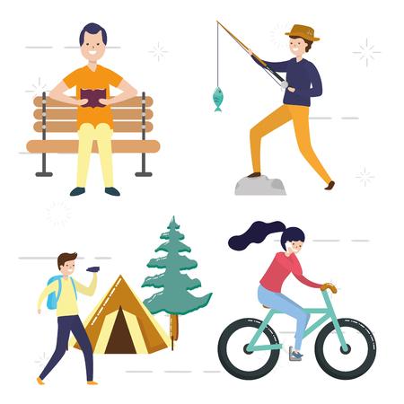 mes loisirs les gens avec des activités vector illustration vector illustration