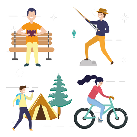 my hobbies people with activities vector illustration vector illustration