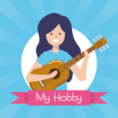 woman playing guitar - my hobby label design vector illustration Illustration
