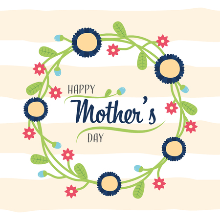 wreath flowers decoration floral happy mothers day vector illustration