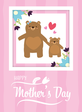mom bear and son flowers happy mothers day vector illustration