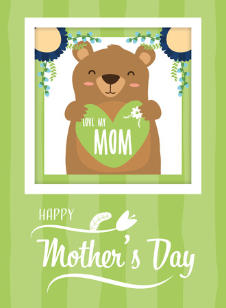 cute bear baby with heart card happy mothers day vector illustration