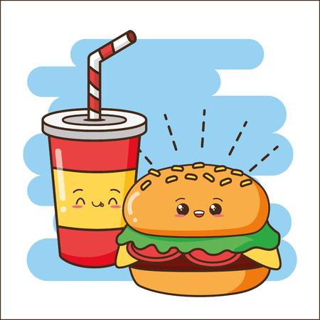 kawaii burger and soda fast food vector illustration