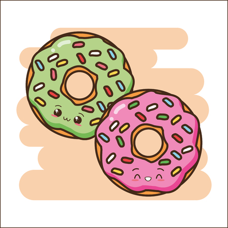 sweet donuts fast food vector illustration