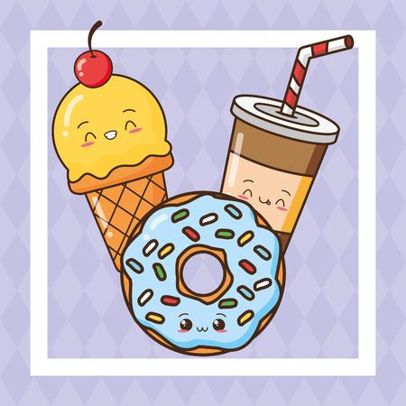 ice cream donut soda fast food vector illustration