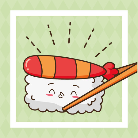 sashimi rice fast food vector illustration