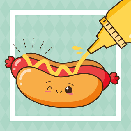 kawaii hot dog mustard fast food vector illustration