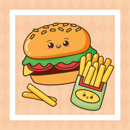 kawaii burger french fries fast food vector illustration Illustration