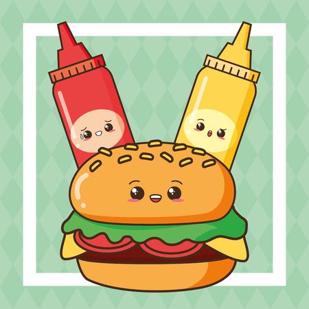 kawaii burger ketchup and mustard fast food vector illustration