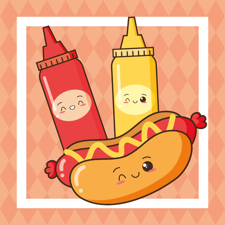 kawaii hot dog ketchup and mustard fast food vector illustration