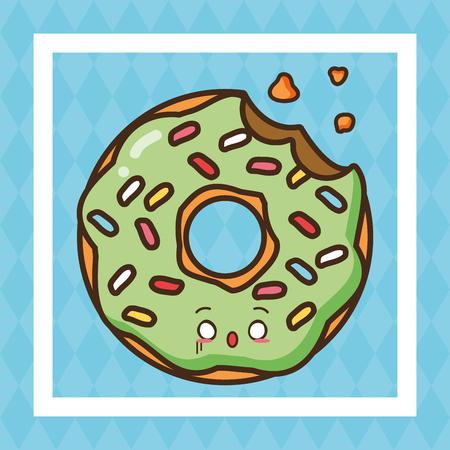 kawaii sweet donut bitten fast food vector illustration Illustration