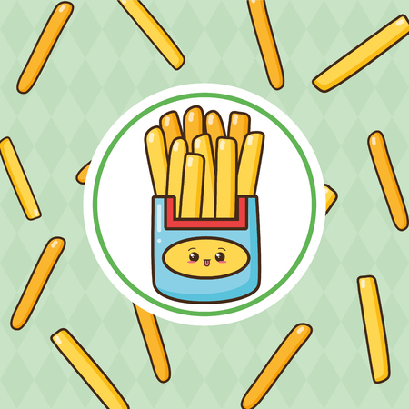 kawaii french fries fast food vector illustration