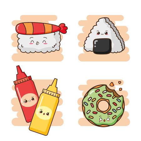 kawaii fast food cartoon set vector illustration Illustration
