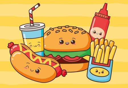 kawaii burger hot dog french fries soda fast food vector illustration