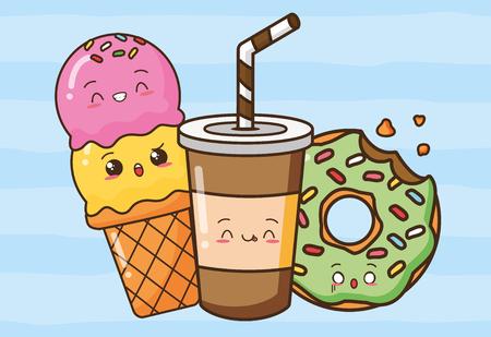 donut soda ice cream fast food vector illustration