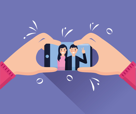 hands with cellphone couple taking selfie vector illustration