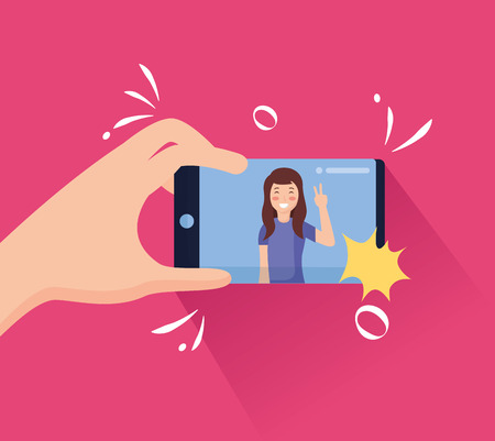 hand with mobile woman taking selfie vector illustration Illustration