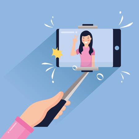 woman holding mobile stick taking selfie vector illustration Stock Vector - 124624870