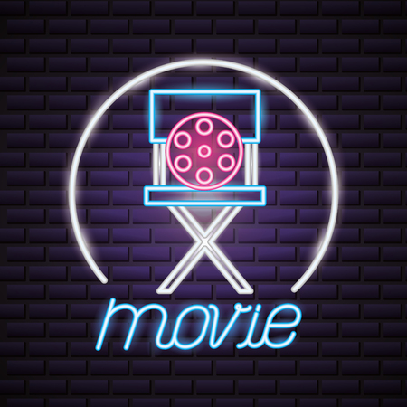 director chair reel movie time neon vector illustration