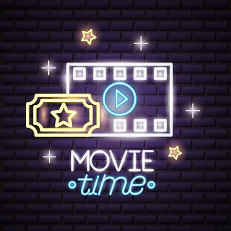 film strip ticket movie time neon vector illustration