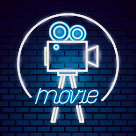 projector camera movie time neon vector illustration