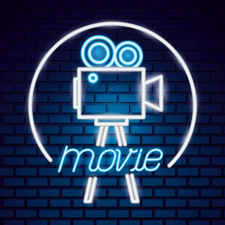 projector camera movie time neon vector illustration Stock fotó - 124624874