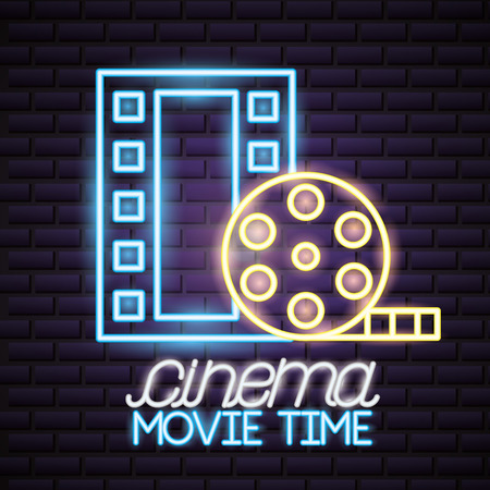 strip film reel movie time neon vector illustration