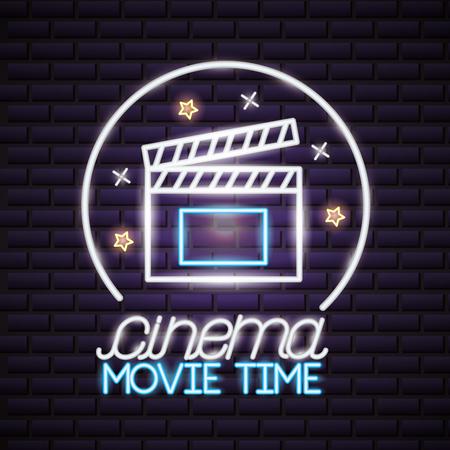 clapboard cinema movie time neon vector illustration