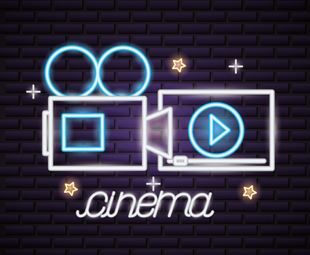 projector screen cinema movie time neon vector illustration