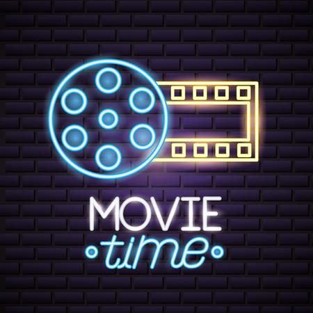 strip film reel movie time neon vector illustration