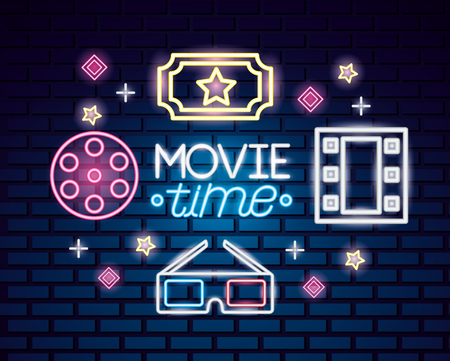 ticket 3d glasses reel movie time neon vector illustration
