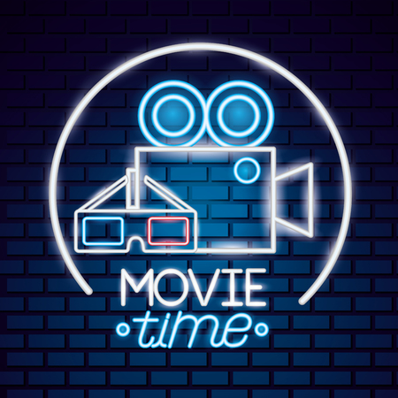 projector and 3d glasses movie time neon vector illustration Illustration