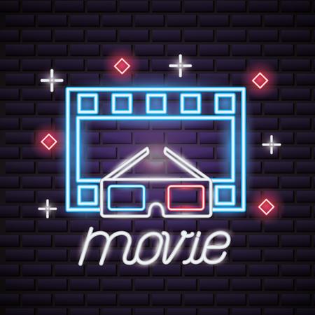 strip film 3d glasses movie time neon vector illustration Banque d'images - 118547867
