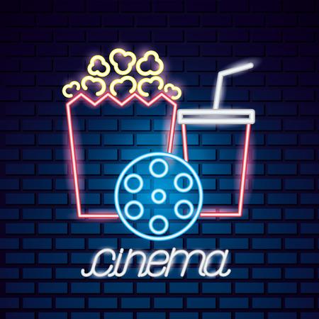 popcorn soda and reel movie time neon vector illustration