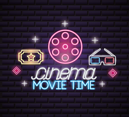 reel ticket 3d glasses movie time neon vector illustration