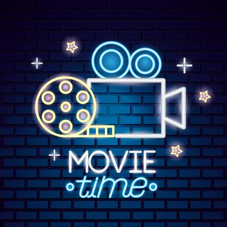 projector camera reel movie time neon vector illustration