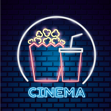 popcorn and soda movie time neon vector illustration