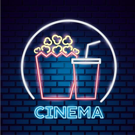 popcorn and soda movie time neon vector illustration