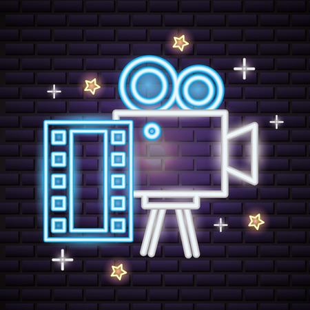 projector camera strip film movie time neon vector illustration