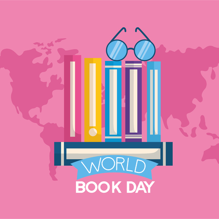 world book day stack of books eyeglasses vector illustration