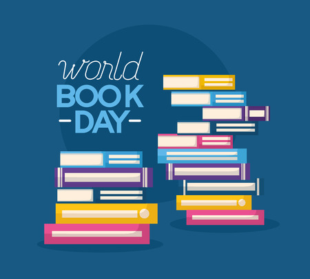 world book day stack of books vector illustration