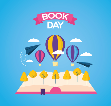 world book day reading travel vector illustration