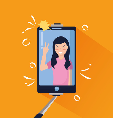 hand with mobile sitck woman taking selfie vector illustration