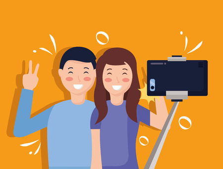 happy couple taking selfie with smartphone vector illustration Stock fotó - 124576766