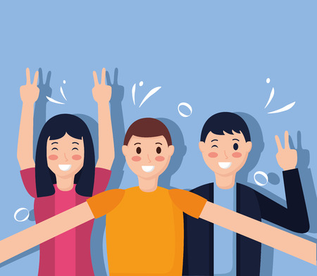 people taking selfie posing gesture vector illustration Vektorové ilustrace