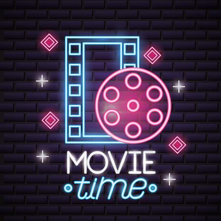 film reel strip movie time neon vector illustration